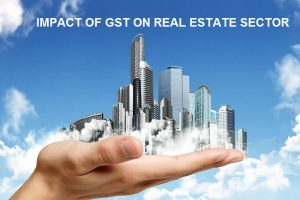 Image of A Hand Holding The Real Estate Buildings Which Describes The Concept of GST on Real Estate Sector.